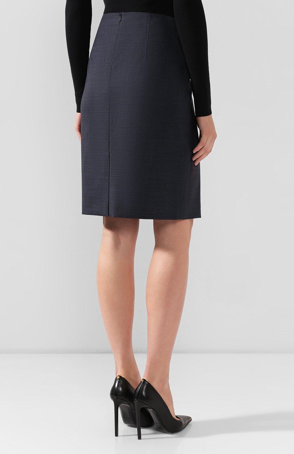 Женская шерстяная юбка BOSS темно-синего цвета, арт. 50417271 | Фото 4