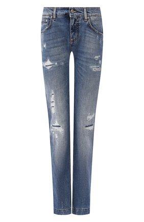 Женские джинсы с потертостями DOLCE & GABBANA синего цвета, арт. FTAIAD/G8BF1 | Фото 1