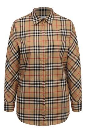 Женская хлопковая рубашка BURBERRY бежевого цвета, арт. 8018475 | Фото 1 (Материал внешний: Хлопок; Рукава: Длинные; Длина (для топов): Стандартные; Женское Кросс-КТ: Рубашка-одежда; Принт: С принтом, Клетка; Статус проверки: Проверена категория)