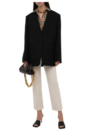 Женская хлопковая рубашка BURBERRY бежевого цвета, арт. 8018475 | Фото 2 (Материал внешний: Хлопок; Рукава: Длинные; Длина (для топов): Стандартные; Женское Кросс-КТ: Рубашка-одежда; Принт: С принтом, Клетка; Статус проверки: Проверена категория)
