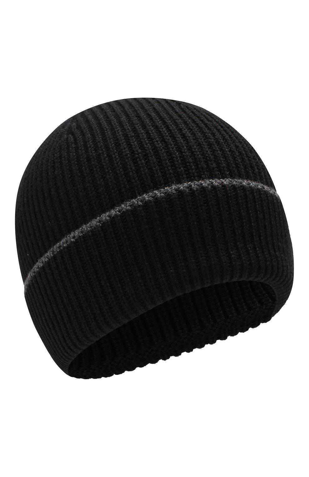 Мужская шерстяная шапка BOSS черного цвета, арт. 50416305   Фото 1