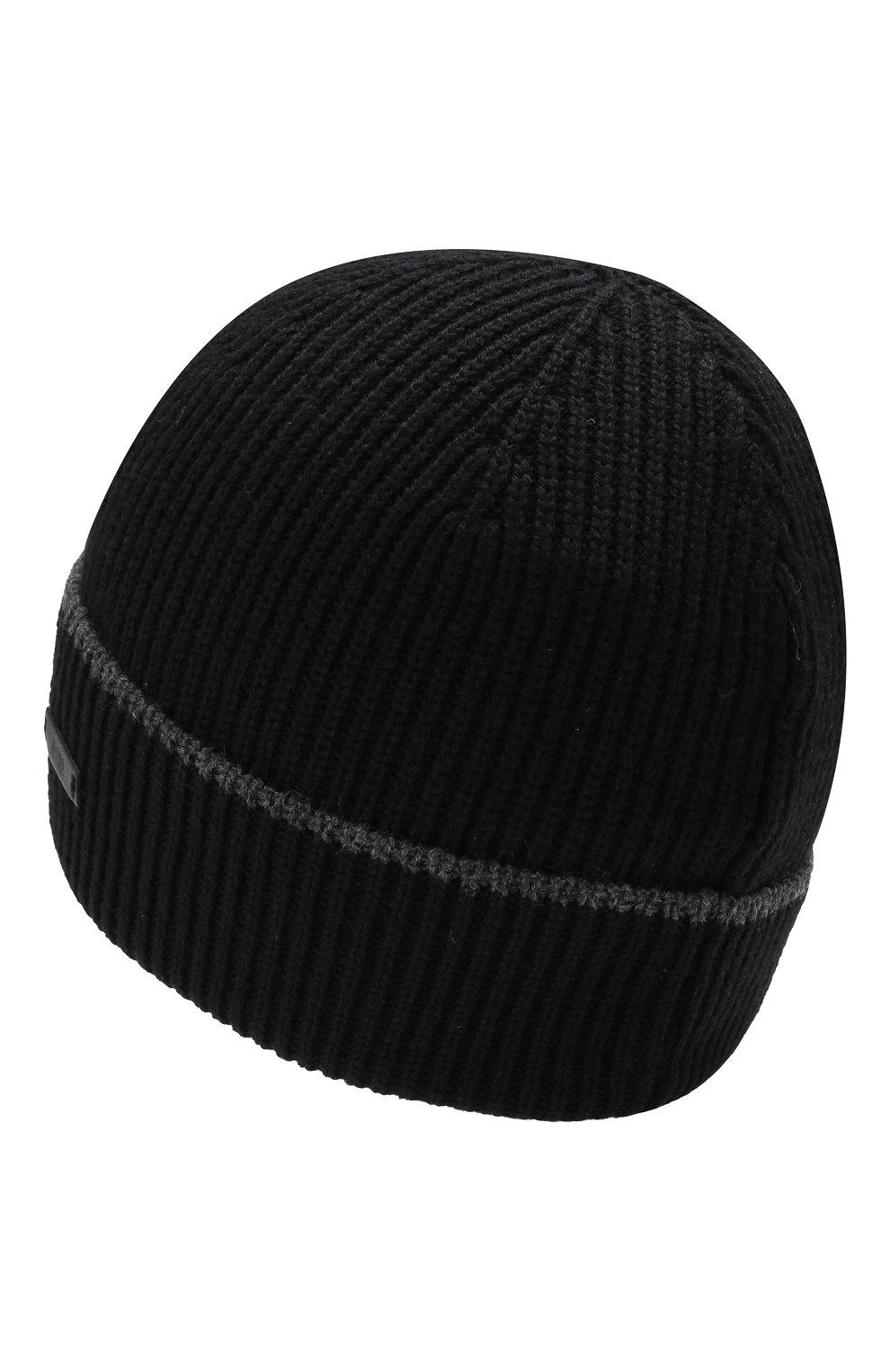Мужская шерстяная шапка BOSS черного цвета, арт. 50416305   Фото 2