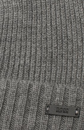 Мужская шерстяная шапка BOSS серого цвета, арт. 50416234 | Фото 3