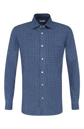 Мужская хлопковая сорочка KITON синего цвета, арт. UMCNERCH0712001 | Фото 1