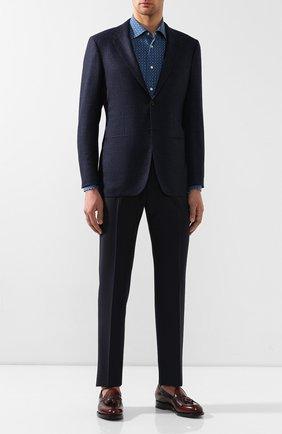 Мужская хлопковая сорочка KITON синего цвета, арт. UMCNERCH0712001 | Фото 2