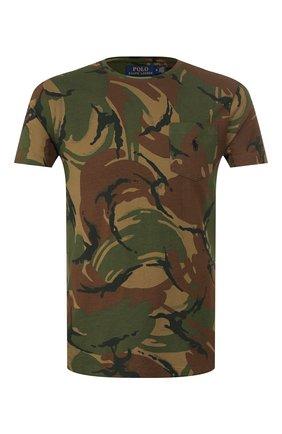 Мужская хлопковая футболка POLO RALPH LAUREN хаки цвета, арт. 710765959   Фото 1