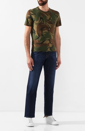 Мужская хлопковая футболка POLO RALPH LAUREN хаки цвета, арт. 710765959   Фото 2