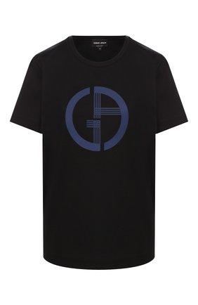 Женская хлопковая футболка GIORGIO ARMANI черного цвета, арт. 6GAM59/AJRQZ | Фото 1 (Статус проверки: Проверена категория; Длина (для топов): Стандартные; Рукава: Короткие; Силуэт Ж (для верхов): Приталенный; Материал внешний: Хлопок; Женское Кросс-КТ: Футболка-одежда; Стили: Кэжуэл; Принт: С принтом)