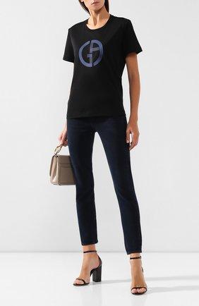 Женская хлопковая футболка GIORGIO ARMANI черного цвета, арт. 6GAM59/AJRQZ | Фото 2 (Статус проверки: Проверена категория; Длина (для топов): Стандартные; Рукава: Короткие; Силуэт Ж (для верхов): Приталенный; Материал внешний: Хлопок; Женское Кросс-КТ: Футболка-одежда; Стили: Кэжуэл; Принт: С принтом)