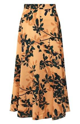 Женская юбка из вискозы DRIES VAN NOTEN оранжевого цвета, арт. 192-10871-8412 | Фото 1