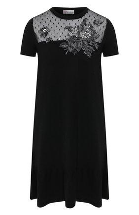 Женское платье из вискозы REDVALENTINO черного цвета, арт. SR0KDB00/4MH | Фото 1