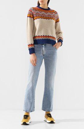 Женская шерстяной свитер GOLDEN GOOSE DELUXE BRAND бежевого цвета, арт. G35WP082.A1 | Фото 2