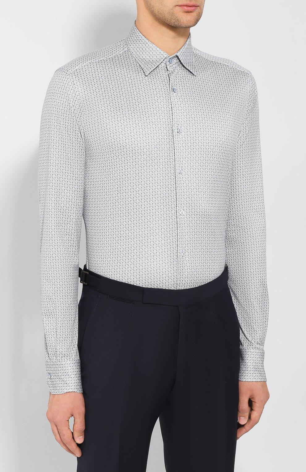 Мужская хлопковая сорочка ZILLI синего цвета, арт. MFS-MERCU-17072/RZ01 | Фото 3