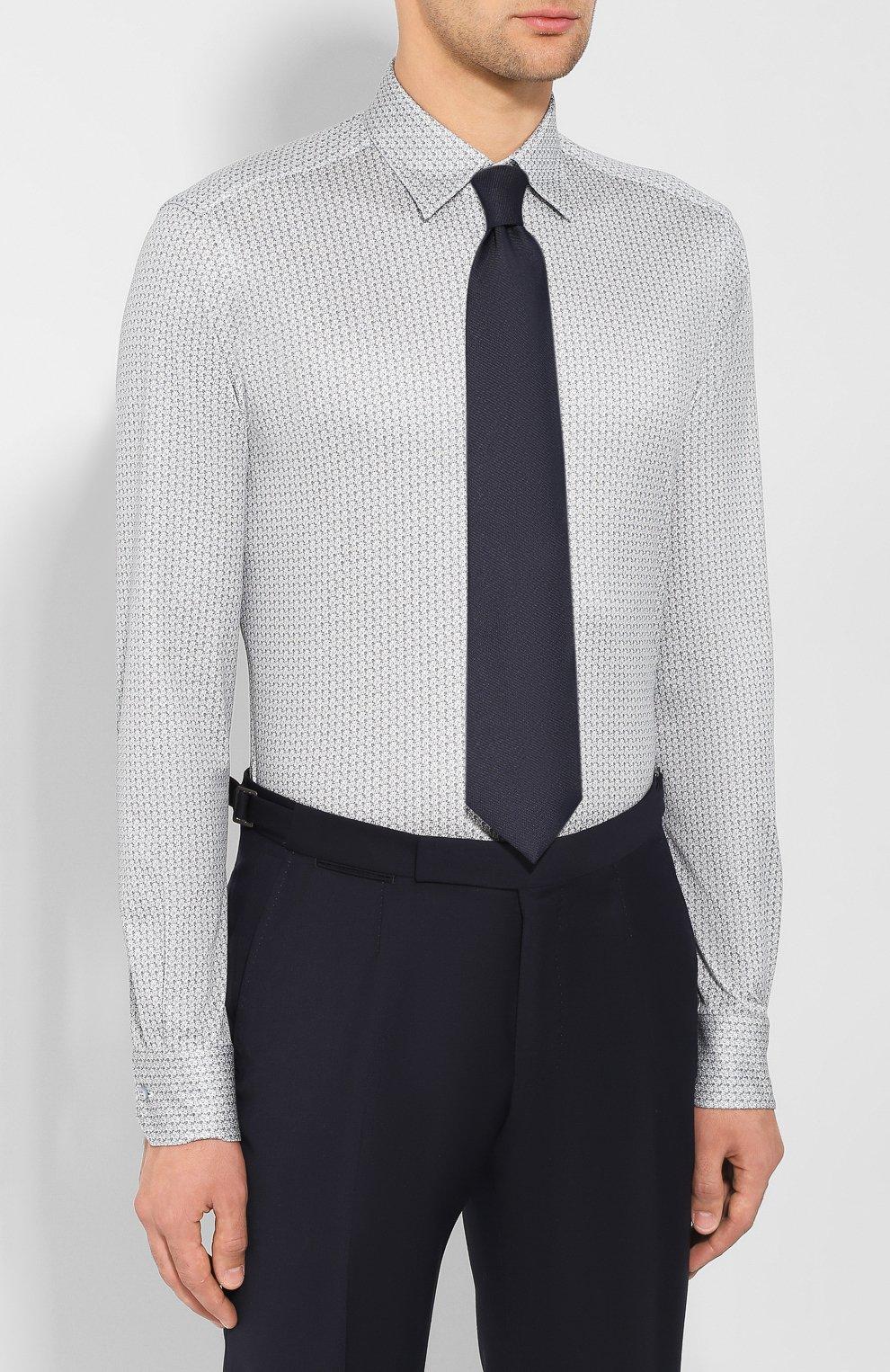 Мужская хлопковая сорочка ZILLI синего цвета, арт. MFS-MERCU-17072/RZ01 | Фото 4