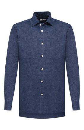 Мужская хлопковая рубашка KITON синего цвета, арт. UMCNERHH0713307 | Фото 1