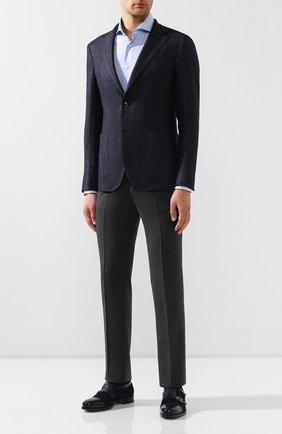 Мужская хлопковая сорочка KITON голубого цвета, арт. UCCH0700104 | Фото 2