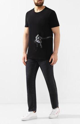 Мужская хлопковая футболка RH45 черного цвета, арт. 27HS31-I | Фото 2 (Статус проверки: Проверена категория; Материал внешний: Хлопок; Вырез: Круглый; Принт: С принтом; Рукава: Короткие; Длина (для топов): Стандартные, Удлиненные; Стили: Панк)