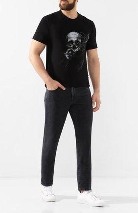 Мужская хлопковая футболка RH45 черного цвета, арт. 27HS75S | Фото 2 (Мужское Кросс-КТ: Футболка-одежда; Рукава: Короткие; Материал внешний: Хлопок; Статус проверки: Проверена категория, Проверено; Длина (для топов): Стандартные; Принт: С принтом; Стили: Панк)