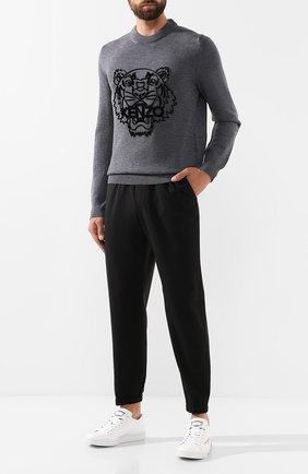Мужской шерстяной джемпер KENZO серого цвета, арт. F965PU2133XB | Фото 2