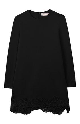 Детское платье с кружевной отделкой PHILOSOPHY DI LORENZO SERAFINI KIDS черного цвета, арт. PJAB33/JE08/UH026/S-M | Фото 1