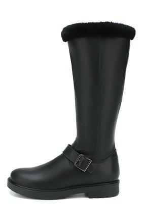 Детские кожаные сапоги с меховой отделкой BEBERLIS черного цвета, арт. 20897-A/35-38 | Фото 2