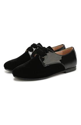 Текстильные туфли с кожаной отделкой   Фото №1
