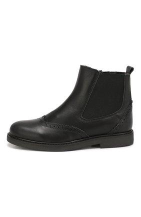 Детские кожаные ботинки с брогированием BEBERLIS черного цвета, арт. 21088-A/35-38 | Фото 2
