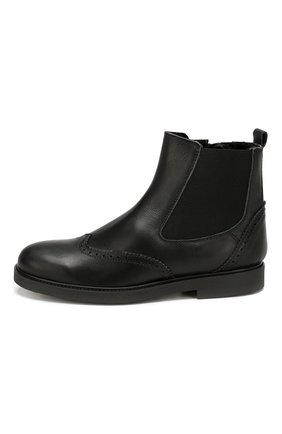 Детские кожаные ботинки с брогированием BEBERLIS черного цвета, арт. 21088-A/39-40 | Фото 2