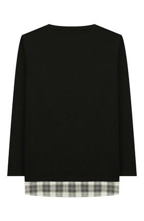 Детская хлопковый лонгслив PAOLO PECORA MILANO черного цвета, арт. PP2038/6Y-12Y | Фото 2