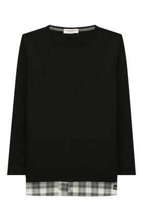 Детская хлопковый лонгслив PAOLO PECORA MILANO черного цвета, арт. PP2038/14Y-16Y | Фото 1
