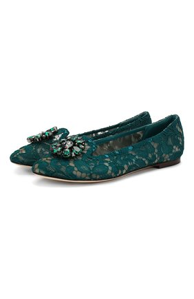 Женские текстильные слиперы rainbow lace DOLCE & GABBANA бирюзового цвета, арт. 0112/CP0010/AL198 | Фото 1