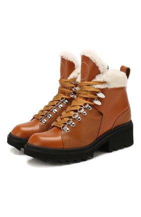 Женские кожаные ботинки bella CHLOÉ светло-коричневого цвета, арт. CHC19W245H5 | Фото 1