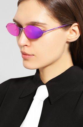 Мужские солнцезащитные очки BALENCIAGA фиолетового цвета, арт. 584803/T0005 | Фото 2