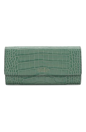 Женские кожаный кошелек SMYTHSON зеленого цвета, арт. 1024071   Фото 1