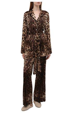 Женская шелковая рубашка DOLCE & GABBANA коричневого цвета, арт. F5I89T/FSAXY | Фото 2
