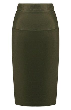 Женская кожаная юбка TOM FORD хаки цвета, арт. GCL764-LEX228 | Фото 1