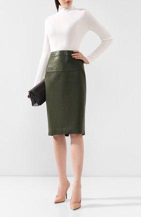 Женская кожаная юбка TOM FORD хаки цвета, арт. GCL764-LEX228 | Фото 2
