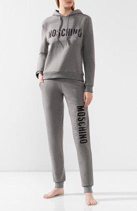 Женская хлопковое худи MOSCHINO UNDERWEAR WOMAN серого цвета, арт. A1710/9001   Фото 2
