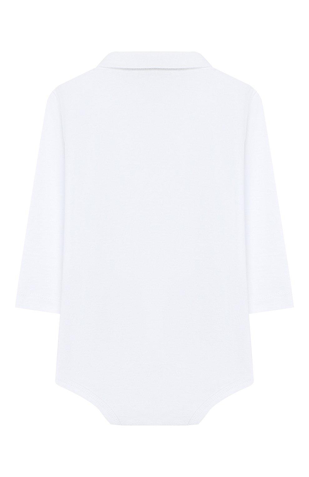 Детское хлопковое боди IL GUFO белого цвета, арт. A19MB051M0094/3M-9M | Фото 2