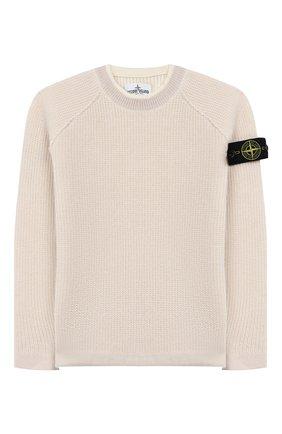Детский шерстяной пуловер STONE ISLAND бежевого цвета, арт. 7116512D2/6-8 | Фото 1