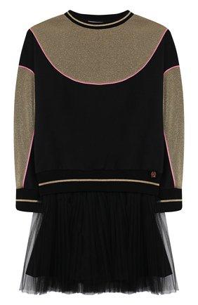 Детское хлопковое платье SIMONETTA черного цвета, арт. 1L1360/LB670/5-8 | Фото 1