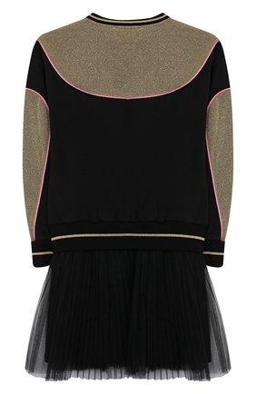 Детское хлопковое платье SIMONETTA черного цвета, арт. 1L1360/LB670/5-8 | Фото 2