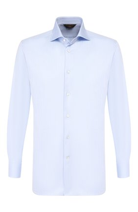Мужская хлопковая сорочка ZEGNA COUTURE голубого цвета, арт. 402301/9NS0LB | Фото 1