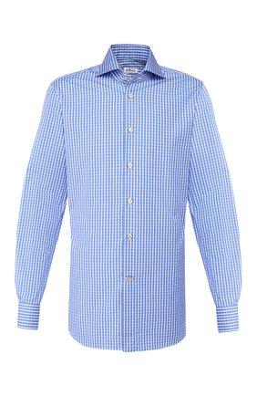 Мужская хлопковая сорочка KITON голубого цвета, арт. UCCH0709412 | Фото 1