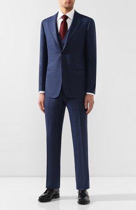 Мужской шерстяной костюм-тройка KITON синего цвета, арт. UAGL81K01X39 | Фото 1