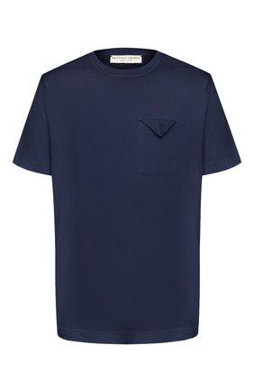 Мужская хлопковая футболка BOTTEGA VENETA темно-синего цвета, арт. 595835/VKAB0   Фото 1
