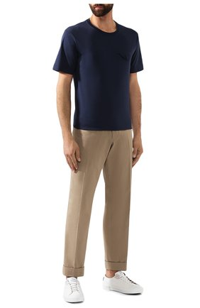Мужская хлопковая футболка BOTTEGA VENETA темно-синего цвета, арт. 595835/VKAB0   Фото 2