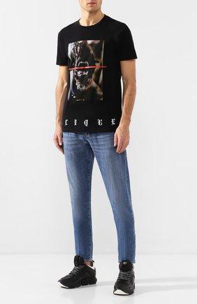 Мужская хлопковая футболка RH45 черного цвета, арт. 27HS14 | Фото 2 (Рукава: Короткие; Статус проверки: Проверено, Проверена категория; Материал внешний: Хлопок; Мужское Кросс-КТ: Футболка-одежда; Длина (для топов): Стандартные; Принт: С принтом; Стили: Панк)