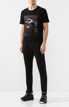 Мужская хлопковая футболка RH45 черного цвета, арт. 27HS29-I | Фото 2 (Рукава: Короткие; Материал внешний: Хлопок; Вырез: Круглый; Мужское Кросс-КТ: Футболка-одежда; Стили: Панк)