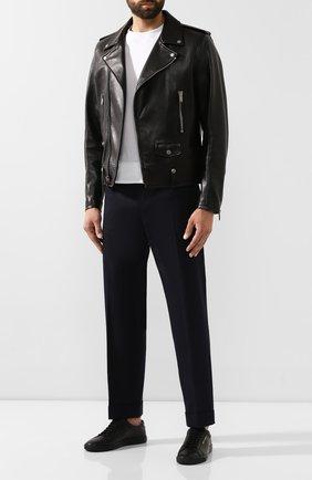 Мужские кожаные кеды SAINT LAURENT черного цвета, арт. 584826/0ZS5Y   Фото 2